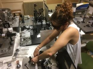 Esther Rebollar aligning the setup